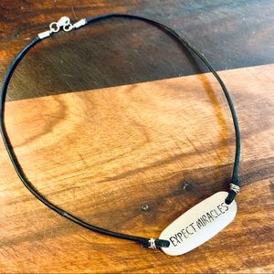 Expect Miracles Message on Leather Necklace